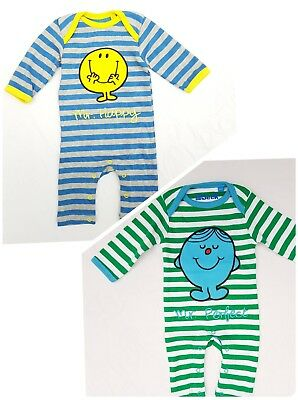 Hide & Seek Mr Men Footless Romper Body Suit Mr Perfect & Happy Sz 3 6 9 months
