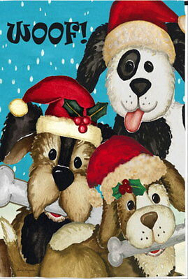 New Adorable Evergreen Garden Flag Woof! Christmas Dogs 12.5 X 18 2 Sided Text