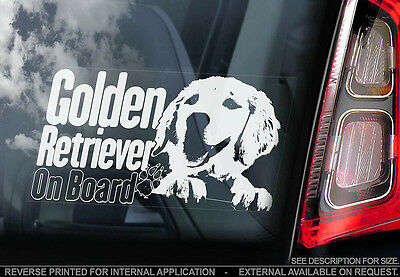 Golden Retriever - Car Window Sticker - Dog Sign -V05