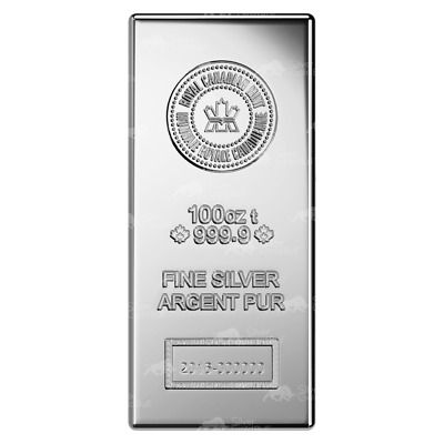 100 oz Royal Canadian Mint New Style Silver Bar