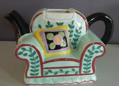 RARE Mary Engelbreit SOFA CHAIR Teapot 2001 SCOTTIE DOG ~NO LID~ Vase