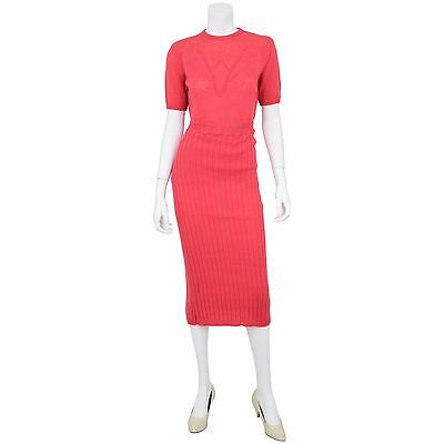 Stunning!1950's Vintage 6 S Wool Pink Knit Top Pencil Skirt Set Suit Rockabilly