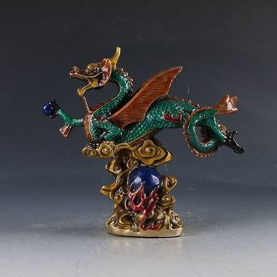 Chinese Cloisonne Handwork Carved Dragon Statue ZJ89