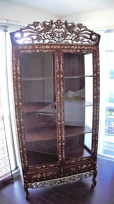 Curio Display Cabinet Antique Asian Chinese Oriental Mother Of  Pearl