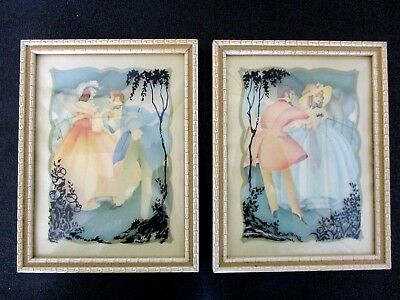 PAIR OF VINTAGE REVERSE SILHOUETTE 6x8 PAINTING PICTURES ON CONVEX CURVED GLASS