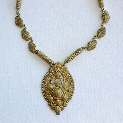 Victorian Revival Necklace Gilt Brass 1930S Art Deco Era Vintage