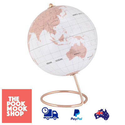 Rose Gold Look Globe Home Decor Gift Accent Table Plant Office Desk Map Country