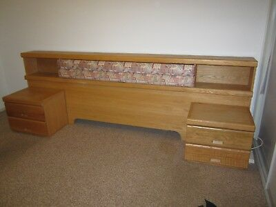 Headboard Solid Oak with 2 Bed Side Tables
