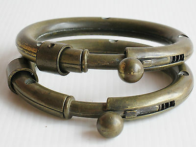 2 OLD HANDMADE COPPER DANCE SPRUNG LINKING BRACELETS 135grams THAILAND SIAM ASIA