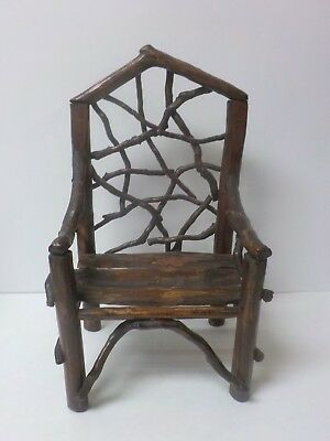 "Vintage Hand Crafted 14.5"" Doll's Country / Primitive TWIG Chair (#1)"
