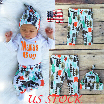 US STOCK Newborn Baby Kids Boy Girl Infant Romper Jumpsuit Bodysuits Outfit Sets