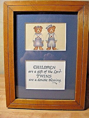 Children Are A Gift of the Lord - TWINS are a Double Blessing - Framed - Signed