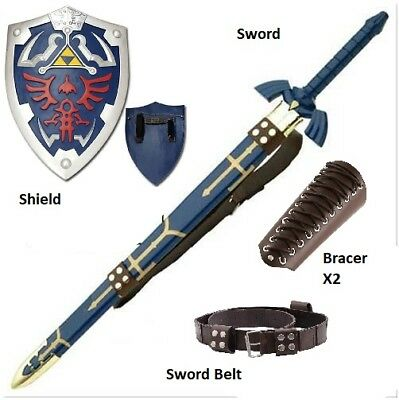 Link Full Cosplay Set Steel Master Sword / Belt / 2x Bracers / Shield Complete