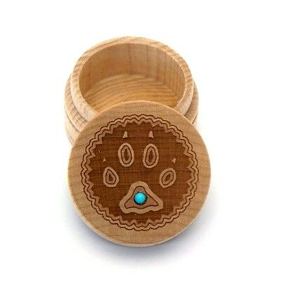 Wolf Paw Maple Wood Carved Round Trinket Box Western Inlaid Turquoise