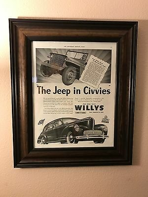 Rare VINTAGE Jeep Willys-Overland Original 1940s Print Ad - 1st Jeep Ad of WWII
