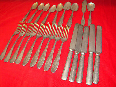 23 Antique Malabar Plate Silver Plated Flatware-Mismatched Style, Incomplete Set