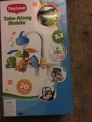 Tiny Love Take Along Mobile, Animal Friends for Baby Crib Car seat stroller NEW