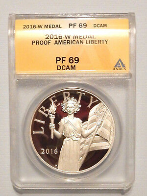 2016 W Silver Proof American Liberty Medal - Graded Pf 69 Dcam By Anacs