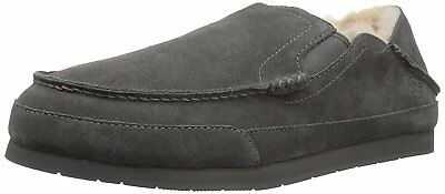 206 Collective Men's Bower Collapsible Back Shearling Moccasin Slipper, Charcoal