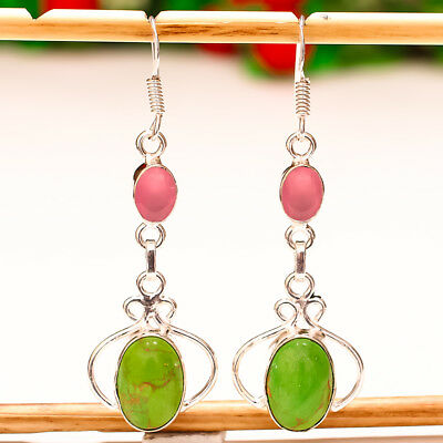 """Green Copper Turquoise Gemstone 925 Silver Jewelry Earring 2.3"""""""