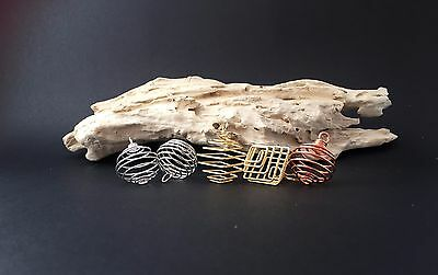 Wire Coil Crystal Cage Pendant - Gold/Silver Tone - Your choice of tumble