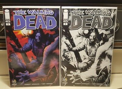The Walking Dead #1 NM Wizard World 2015 Chicago Color & Sketch B&W Variant Set