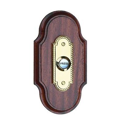 Mahogany Doorbell Plinth, varnished for outdoor use, brass push with porcelain b