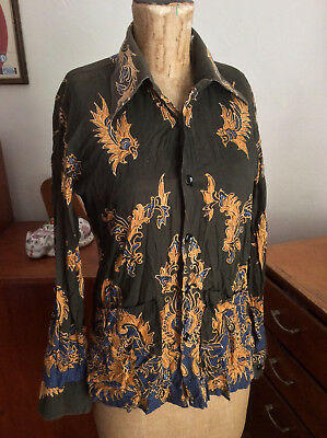 Vintage 70s INDONESIAN BODY SHIRT size M groovy exotic Hawaiian psychedelic