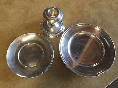 American Sterling Silver plates & candlestick
