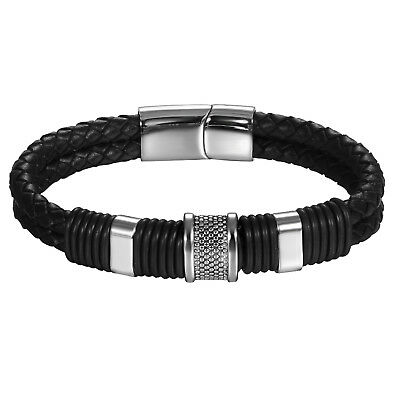 Men's Double Layer Braided Leather Stainless Steel Magnet Buckle Bracelet Bangle