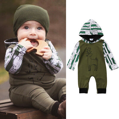 Baby Boys Girls Deer Hooded Romper Bodysuit Jumpsuit Clothes Outfits