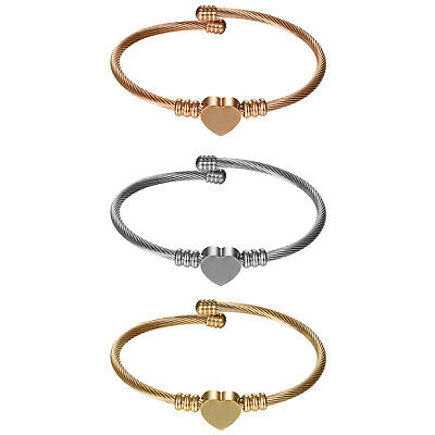 3pcs Women's Stainless Steel Heart Charms Cable Wire Cuff Bangle Bracelet Set