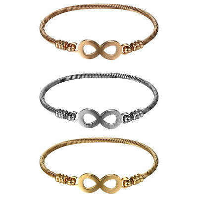 3pcs Womens Stainless Steel Love Infinity Symbol Cable Wire Cuff Bangle Bracelet