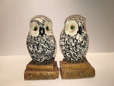 Chalkware Vintage Snowy Owl Bookends Beautiful!