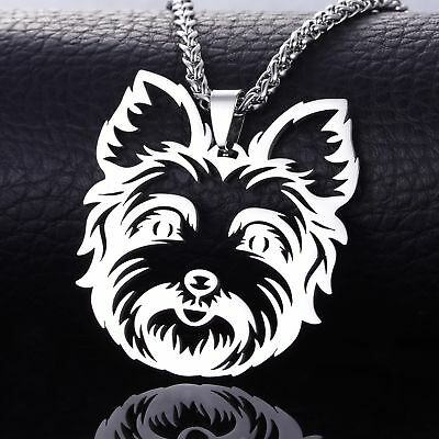 Stainless Steel Yorkshire Yorkie Terrier Dog Tag Collar Charm Pendant Necklace