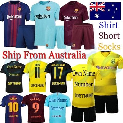 2018 New Football Kids Soccer Jersey Short Sleeve Team Suit Kits 3-14 Yrs +Socks