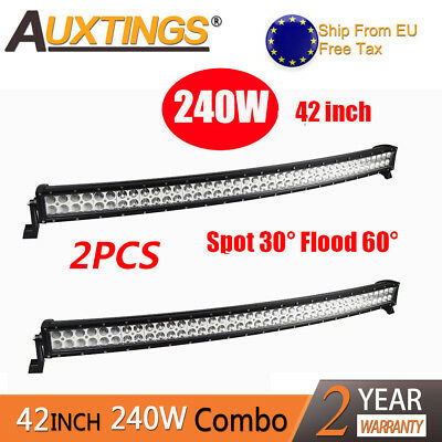 2X240W 40inch LED Light Bar Combo Beam Curved Work Off road Truck Boat SUV ATV