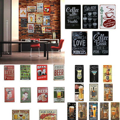 BEERS Vintage Retro Metal Tin Sign Poster Plaque Bar Pub Club Wall Home Decor
