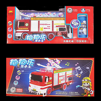 New Automatic Fire Truck Bubble Blower Blowing Maker Machine Battery operated
