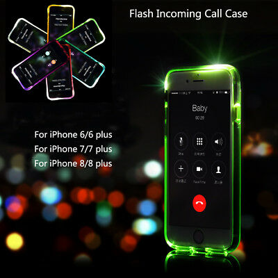 Soft Transparent LED Flash Phone Case Cover Shockproof For iPhone 6s 7 8 Plus X