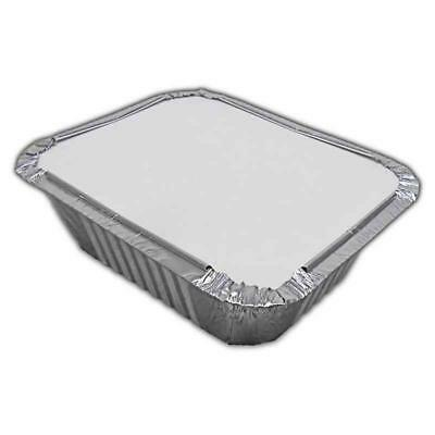 1000 x Foil Aluminium Containers + 1000 x Lids No 2 - Hot Cold Food Takeaways