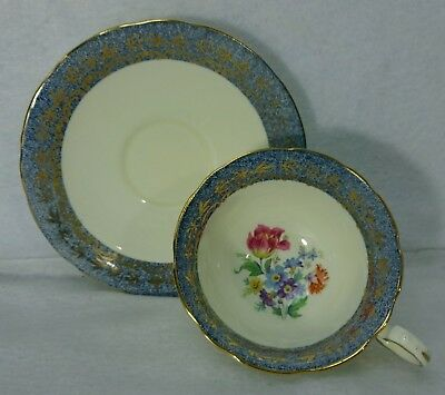 """AYNSLEY china C381 BOUQUET Blue Rim Gold Filigree Cup & Saucer Set - 2-1/8"""""""