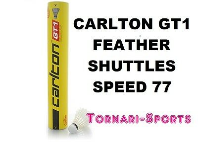 CARLTON GT1 / 77 FEATHER SHUTTLES SHUTTLECOCKS Dozen TUBE of 12