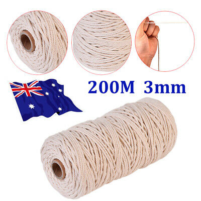 200 m 100% Natural Beige Cotton Twisted Cord Craft Macrame Artisan String 3mm AD