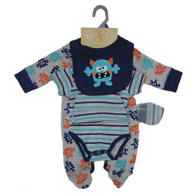 5 Piece Baby Boys Layette Clothing Gift Set Monsters Design NEWBORN