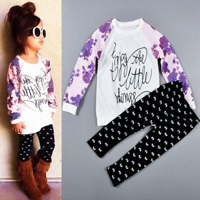 1Set 2T-6T Baby Girl Long Sleeve Kids T-shirt Tops Blouse+Pants Outfits Clothes