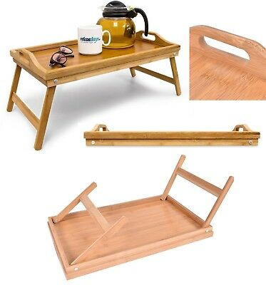 Bamboo Breakfast Bed Tray Serving Laptop Table Folding Leg With Handle Lap Tray