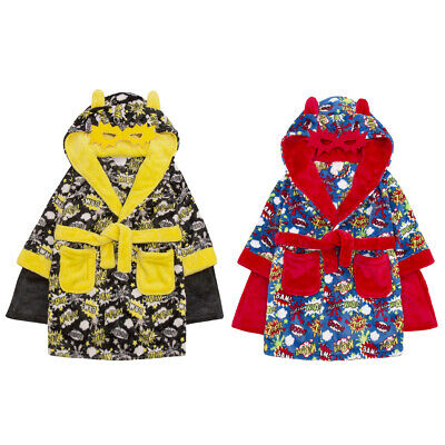 Childrens Infant Boys Novelty Superhero Dressing Robe Fleece Hooded Comic Gown