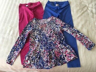 Gymboree Girls Kid Toddler Size 5-6 Outfit Pink Blue Leggings Sequin Shirt