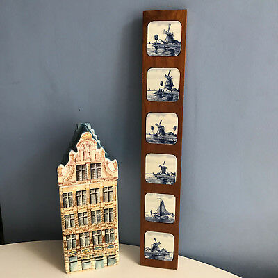 Six Delft Tiles Souvenir Plaque, Dutch Wooden Wall Hanging Windmills and Boat
